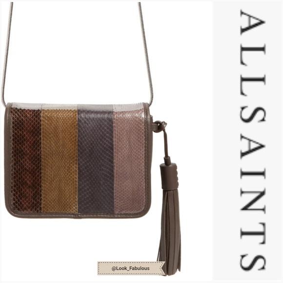 All Saints Handbags - NWT ALL SAINTS BROWN SNAKESKIN CROSSBODY PURSE